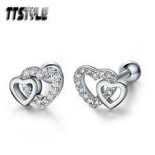 TTstyle Surgical Steel DoubleHeart Fake Ear Cartilage Tragus Earrings A Pair NEW
