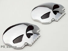 2x ABS Skull Emblem Decal Badge Stickers For Harley Motorcycle Fuel Tank Fairing