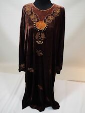 Women velvet stretchy long brown embroidered dress kuftan caftan abaya gown  XL