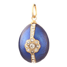 Faberge Egg Pendant / Charm with crystals 2.3 cm blue #0810-11