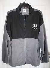 Olympics USA Fleece Jacket XL Light Weight Black Grey Pockets