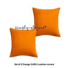 "Set of 2 IKEA Orange Cushion Covers Gurli Pillow Covers 20x 20"" Plain w/zipper"