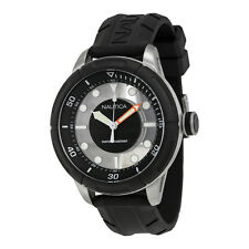 Nautica White and Black Dial Black Rubber Mens Quartz Watch A29552G