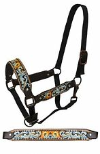 Floral Painted Tooled Leather Belt Style Horse Size Halter NEW Tack