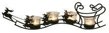 Christmas Reindeer Sleigh Tea Light Holder - Christmas Table Centrepiece (Clear)