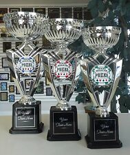 NEW POKER LOT SILVER CUP HOLD'EM 1st-3rd PLACE AWARD TROPHY SET