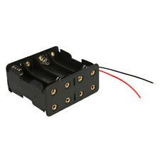 "1X New DIY Clip Holder Box Case with 6""Wire Leads Black for 8 AA 2A Battery 12V"