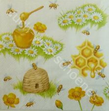 6 Servietten Napkins Bienen - Honig - Bienenkorb - Waben - Wiese - Imker vt188