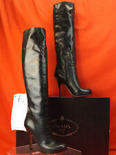 PRADA PETROL BLUE CRINKLE LEATHER SLOUCH PLATFORM OVER THE KNEE OTK BOOTS 40 9