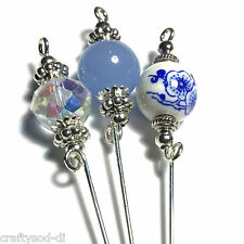 "3 x  4"" Silver Hat Pins, Vintage Style, Blue & Clear Glass Beads,"