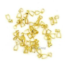 50x Plated Gold Copper Clasps Pinch Pendants Bails Jewelry Findings Fit Crafts L