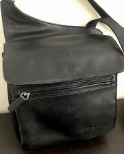 FOSSIL Crossbody Shoulder Traveler Bag Built In Wallet Organizer Leather Black