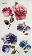 Pink Red Roses Flower Temporary Tattoos Stickers Body 3D Rose Tatoo Waterproof
