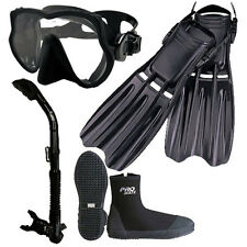 Scuba Dive Frameless Mask Snorkel Boots Fins Gear Set