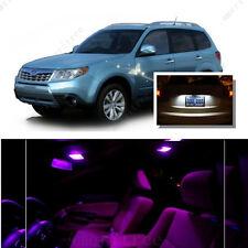 For Subaru Forester 1998-2014 Pink LED Interior Kit + White License Light LED