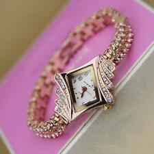 Fashion Women's Crystal Bracelet Stainless Steel Analog Quartz Wrist Watch TD~