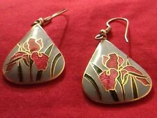 Beautiful Signed Dangle Earrings Maroon/Pink Irises Cloisonné Enamel ~ SITI