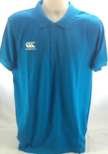 Canterbury Rugby Mens Waimak Polo T-Shirt in Vivid Blue -  Size Large