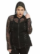 TRIPP PLUS SIZE 6 6X 30 LACE BLACK CORSET HOODIE TOP SHIRT JACKET TORRID GOTH 5X