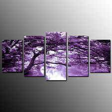 FRAMED Canvas Print For living Room Purple Branch Wall Art Canvas Painting-5pcs