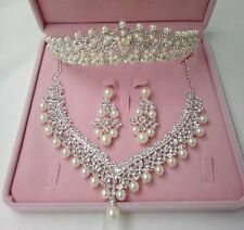 Crystal Pearl Wedding Tiara Crown+Necklace+Earring Set Handmade Bridal Accessory