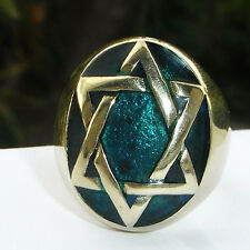 FOREST ECO-GREEN STAR OF DAVID MEN'S HUGE RING Mystic Jewish Kabbalah HEXAGRAM