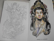 tattoo designs flash book a3 size mother buddha color and grayscale