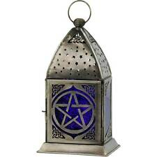 Celtic Pentacle Tea Light Lantern Made of Cobalt & Purple Glass & Metal