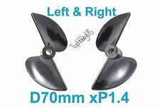 1 Set D70mm Left & Right P1.4 RC Boat Propellers, 5mm Shaft US TH038-06101-02