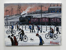 "Northern artista James Downie pintura al óleo originales ""Pit Men 'mineros Ferrocarril"