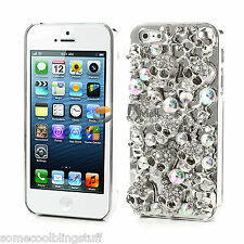 COOL LUXURY BRILLANTE CALAVERA PLATA DIAMANTE FUNDA PROTECTORA PARA IPHONE 5 5s