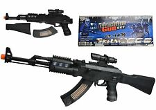 Toy Machine Gun Assault Styled Black AK Toy Plastic Playset Lights & Sound Black