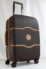 """DELSEY CHATELET HARD PLUS 21"""" HARDSIDE SPINNER CARRY ON SUITCASE BROWN"""