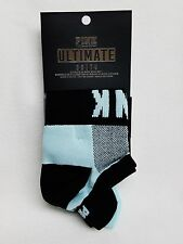 2 PAIRS of Victoria's Secret PINK Logo BLUE + BLACK No-Show Ultimate Ankle Socks
