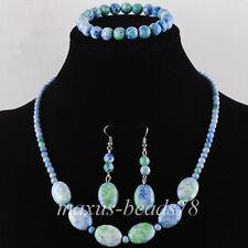 Ocean Jasper Beads Gem Necklace Bracelet Earrings Set Jewelry MM1004