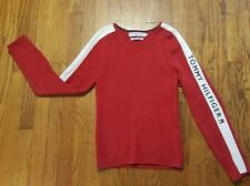 Tommy Hilfiger Jeans Ribbed Sweater Medium Red v-neck rubber SPELL OUT VTG 90s