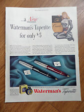 1947 Waterman's Taperite Pens Ad  His Crusader & Her Crusader