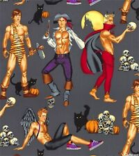 Alexander Henry Halloween - Haunting Hunks 7827 C CHARCOAL  Cotton Fabric BTY