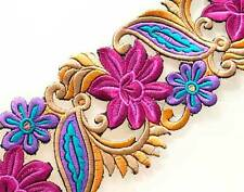 Shades of Pink Flowers Sewing Trim. Wide, Embroidered, Ribbon.