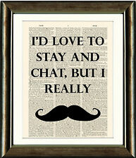 Vintage Antique Dictionary Page Art Print - Movember Moustache Quote Print