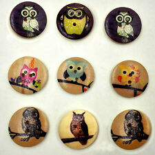 25pcs Mixed Wodden Bottons 2 Holes 30mm Retro Owl Printing Clothes Sewing Crafts