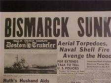 VINTAGE NEWSPAPER HEADLINE ~WORLD WAR 2 NAZI SHIP BISMARCK BATTLESHIP SUNK WWII