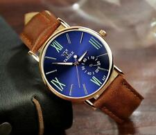 Fashion Leather Mens date Glass Quartz Analog Wristwatch Noctilucent Watches