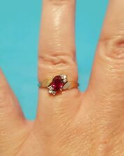Solid 10k Yellow Gold Solitaire Ruby ? and Diamond Ring Size 6.25 6 1/4