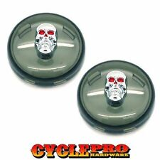 2 Smoke Bullet Snap In Turn Signal Lenses for 2002-2016 Harley - Chrome Skull