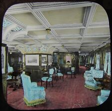 Glass Magic Lantern Slide HMS OPHIR DRAWING ROOM C1901  STEAM SHIP STEAMER PHOTO