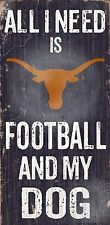 "TEXAS LONGHORNS FOOTBALL and my DOG WOOD SIGN & ROPE 12"" X 6""  MAN CAVE!"