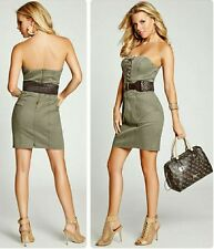 Guess Women's Strapless Belted Military Twill Dress Sz 6
