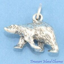 POLAR BEAR DETAILED 3D .925 Solid Sterling Silver Charm