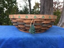 Pine Tree Lodge Lake Cabin Decor ROUND BASKET Weaved Wicker Table Top Decor